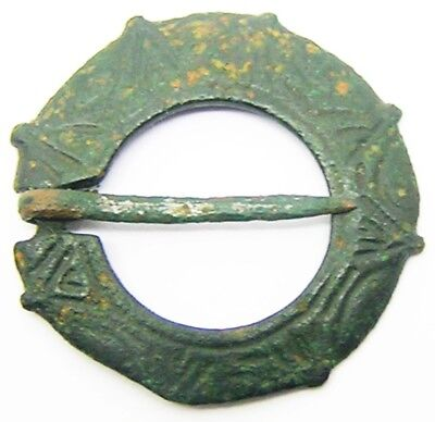 13th century A.D. Medieval Decorated Bronze Ring Brooch Excavated Condition