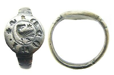 Original 13th century Medieval Silver Signet Ring Eagle Wearable Size 8 1/4