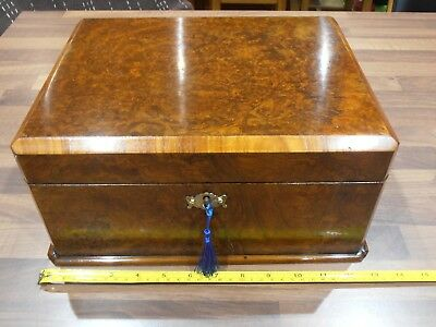 Antique Burr Walnut Lined Box with Lock & Key