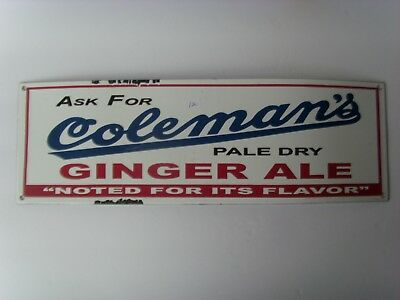 """Antq """"Coleman's Ginger Ale"""" Porcelain Advertising Sign 5½""""x17"""" early1900's 48/12"""