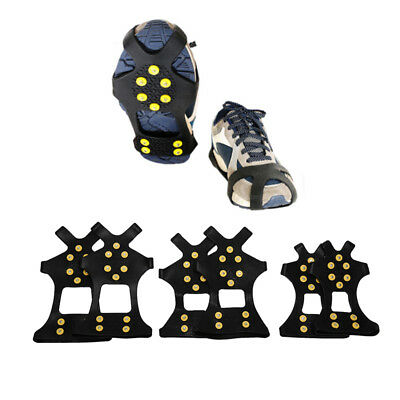 10 Studs Ice Snow Shoe Spiked Grips Cleat Winter Climbing Anti Slip Shoes Co Pr