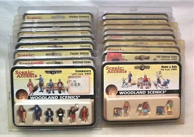 Lot Of 18 Woodland Scenics Scenic Accents Ho Scale People Sets - All Mib