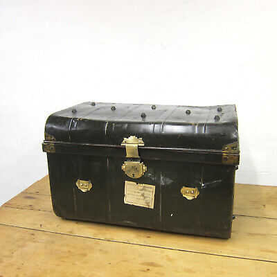 Green Metal Trunk Vintage Old Travel 1930s Coffee Table Toy Box Chest Storage