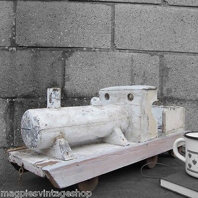 Vintage Old Rustic Traditional Antique Toy Wooden White Painted Model Train Rail