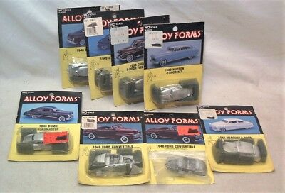 LOT OF 8 ALLOY FORMS HO SCALE CAST METAL 1940s-50s CAR KITS - ALL MINT ON CARDS