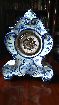 Antique Delft blue porcelain clocks with the Scheffel stamp and key