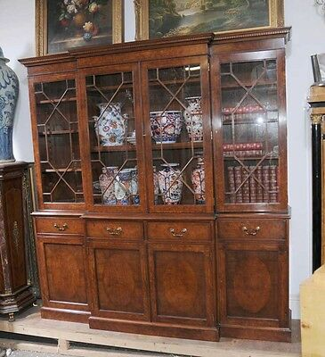 Victorian Walnut Breakfront Bookcase Large Bookcases