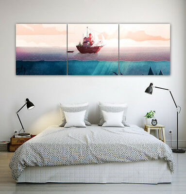 "16x16""x3pc Fantasy Boat on Sea Paint Home Wall Decor Modern Art Print on Canvas"