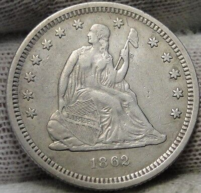1862 Seated Liberty Quarter 25 Cents -  Key Date 932,000 minted. (6906)