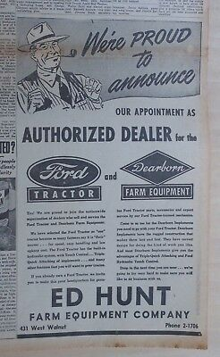 1955 newspaper ad for Ford - Ed Hunt is Ford Tractor & Dearborn Equipment dealer
