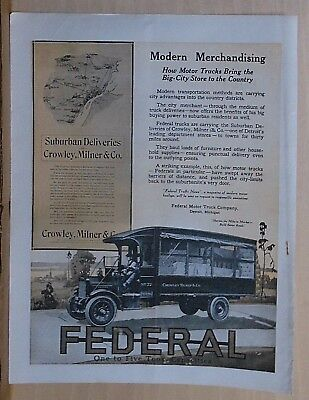 1919 magazine ad for Federal Trucks - Crowley, Milner & Co. of Detroit truck