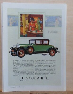 1928 magazine ad for Packard - Venetian glass workers, Packard exterior finishes