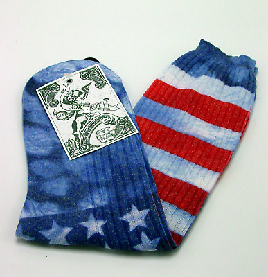 Faded Old Glory Sox Trot Thin Cotton Crew Socks New Women Size 9-11 Fashion Flag