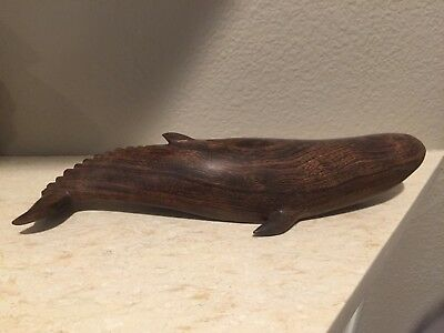 Hand Carved Wood Wooden Ironwood Humpback Whale Figurine 11.5""