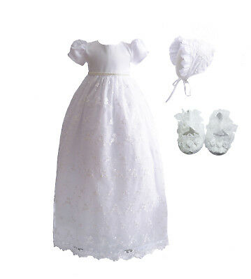 Long Lace Christening Gown Bonnet and Shoes 0-3 3-6 6-9 Months White Ivory