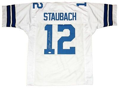 Roger Staubach Signed Autographed Dallas Cowboys  12 White Jersey Jsa 812248474