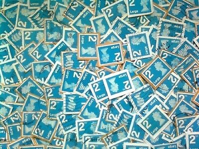 2ND CLASS LARGE blue qty 100 Used/Franked On-Paper  NON-SECURITY self adhesive