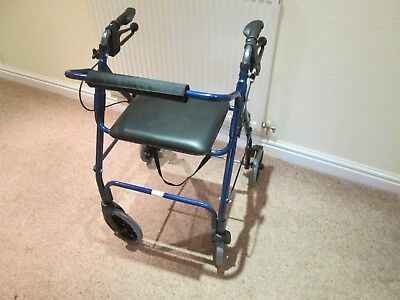 1743 Disabled Elderly 4 Wheel Walking Aid with  Seat Folds Used