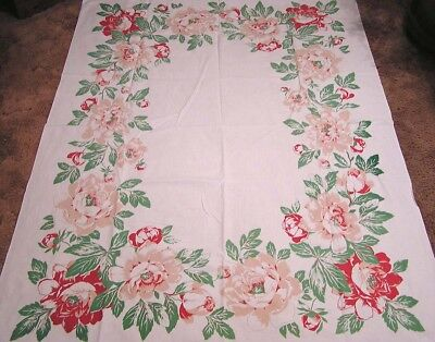 """Vintage Large Tablecloth Magnolias Pink Maroon Green 1950s  - 50"""" X 65"""""""