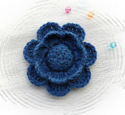 Hand Crochet Brooch Applique Blueberry Blue  Acrylic Flower