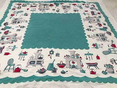 "Vintage Aqua Red Prim Kitchen Designs Table Cloth Textured Cotton 48""x 46"" T1"