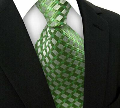New Classic Striped Plaid WOVEN JACQUARD Silk Men's Suits Tie Necktie Green N184