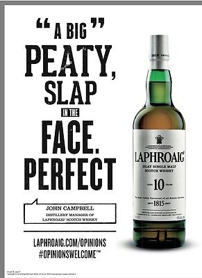 """Laphroaig """" Peaty  Slap In The Face """" Poster. New 18 By 27"""