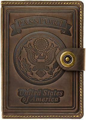 RFID Blocking US Passport Holder Cover Leather ID Card Wallet Travel Case Safety