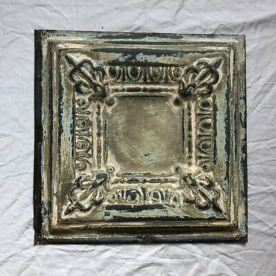 "12"" x 12"" Antique 1890's Tin Ceiling Tile Reclaimed Metal Ivory Verdigris 19-19"