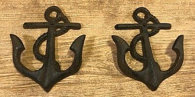 """Cast Iron Anchor Small Hooks 5 1/4"""" Antique Vintage Style (Set of 2) 0170-05231"""