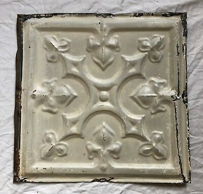 1890's 12 x 12 Antique Tin Ceiling Tile Taupe Metal Reclaimed  26-19