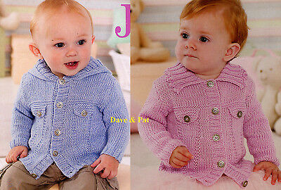 Knitting Pattern For Baby Boy Girl Jeans Jacket Hooded Sirdar Bamboo Dk O-3 Yrs