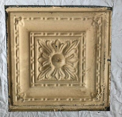 1890's 12 x 12 Antique Tin Ceiling Tile Tan Metal Reclaimed Anniversary 33-19