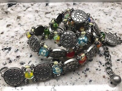 "Vintage SOUTHWEST CONCHO and MURANO GLASS 38"" stunning! SILVER Belt Wearable Art"