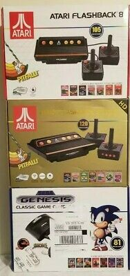 (3 game systems)Sega Genesis Classic. 2 Atari Flashback 8 Gold:  built in games!