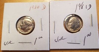 Set of 1980 and 1981 Roosevelt US Dime D in UNCIRCULATED (UNC) Condition