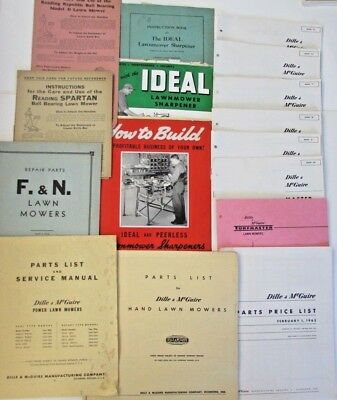 Lot Vtg Lawn Mower Manual Instructions Ideal Lawnmower Dille & McGuire Sharpener