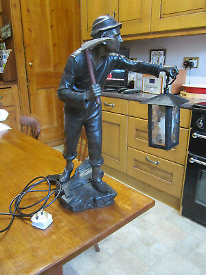Old Antique Electric Lamp Light of Spelter Miner Figure with Axe Hammer c1915