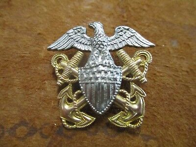 "Original WW2 era Navy officers cap pin Sterling By Hilborn Hamburger 1 1/8"" high"
