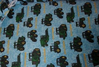 New Hand Made John Deere Tractors Blue Flannel Fitted Crib/Toddler Sheet