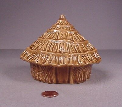 Vintage Tiki Hut Pottery still coin bank heavy ceramic pottery Hawaiian   Hawai