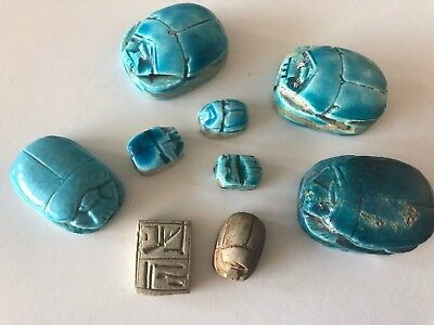 Egyptian Scarab Bead w/ Hieroglyphics Collection Lot Beads Age Material Unknown