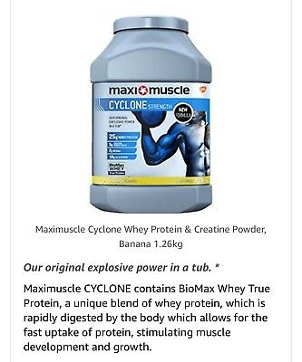 Maximuscle Cyclone Whey Protein And Creatine Powder, 1.26 Kg, Banana.