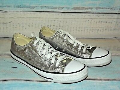 d510814b8e07a5 CONVERSE ALL STAR Silver Sparkle Sneakers with Black Laces -EUC ...