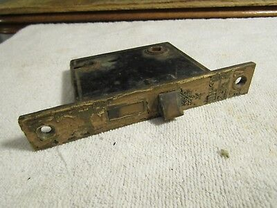 Antique Victorian Skeleton Door Lock with Decorate Fancy Ornate End Plate 1880s