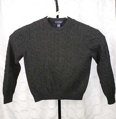 Brooks Brothers Mens Gray Wool Cashmere Cable Knit Sweater Size
