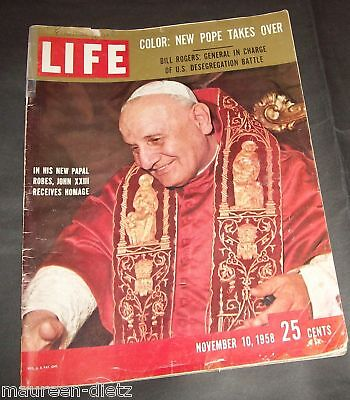 November 10, 1958 LIFE Magazine 50s ads ad Pope John XXIII FREE SHIPPING Nov. 11