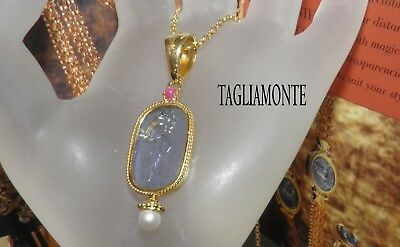 TAGLIAMONTE Necklace*YGP SS925*Blue Venetian Cameo+Ruby+Pearl*ARTEMIS/DIANA