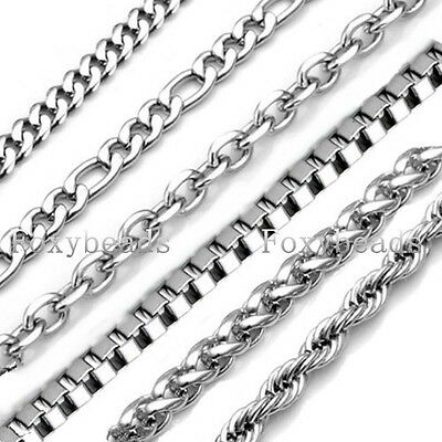 Fashion 1.5-9mm Silver 316L Stainless Steel Twist Curb Link Necklace Jewelry FB