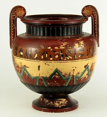 ! Antique 1850-61 EGYPTIAN REVIVAL Painted Terracotta Urn Vase F. GERBING WITWE